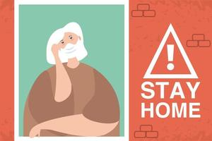 stay at home campaign, elderly woman in the house window vector