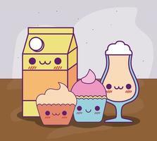 Caja de leche kawaii taza de café y cupcakes diseño vectorial vector