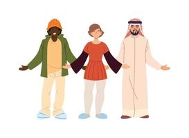 cartoon black woman, white woman, and arabic man vector