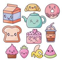set of food icons in kawaii style vector