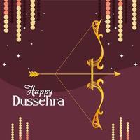 Arco dorado con flecha con estrellas sobre fondo morado de diseño vectorial feliz dussehra