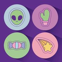 diseño de vector de estrella y caramelo de cactus alienígena