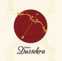 Arco de oro con flecha delante del adorno de mandala rojo de diseño vectorial feliz dussehra