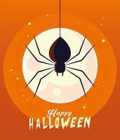 Halloween black spider in front of moon vector design