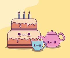 Kawaii cake taza de café y hervidor de agua diseño vectorial vector
