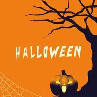 Halloween pumpkin cartoon at tree vector design