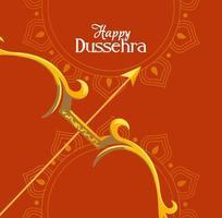arco dorado con flecha frente a mandalas adornos de diseño vectorial feliz dussehra