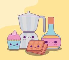 Kawaii coffee hervidor de agua cupcake waffles y diseño vectorial de jarabe vector