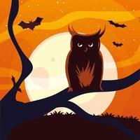dibujos animados de búho de halloween en árbol frente a diseño de vector de luna