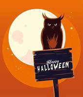 Dibujos animados de búho de Halloween en banner de madera frente a diseño de vector de luna