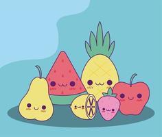 Diseño vectorial de dibujos animados de frutas kawaii vector