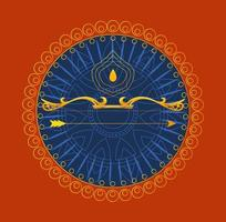 gold bow with arrow in front of blue mandala ornament of happy dussehra vector design