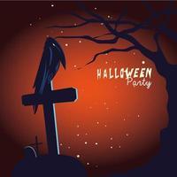 Halloween raven cartoon on grave and tree vector design