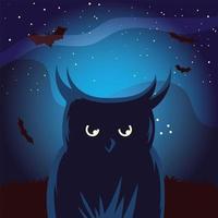 dibujos animados de búho de halloween con murciélagos en el diseño de vectores de noche