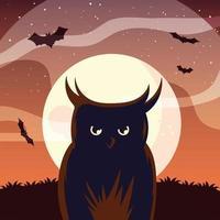Halloween owl cartoon in front of moon vector design