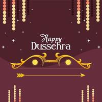 gold bow with arrow with stars on purple background of happy dussehra vector design