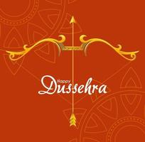gold bow with arrow in front of mandalas ornaments of happy dussehra vector design