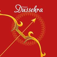 gold bow with arrow in front of mandala ornament of happy dussehra vector design