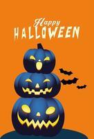 Halloween blue pumpkins cartoons vector design