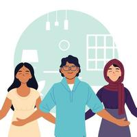 indian muslim women and man cartoons in front of home room vector design