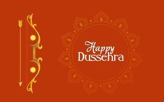 Arco de oro con flecha y adorno de mandala de diseño vectorial feliz dussehra