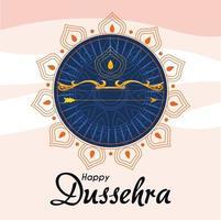 Arco de oro con flecha delante del adorno de mandala azul de diseño vectorial feliz dussehra