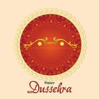 lazo dorado delante del adorno de mandala rojo de diseño vectorial feliz dussehra