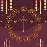Arco de oro con flecha delante del ornamento de mandala de diseño vectorial feliz dussehra