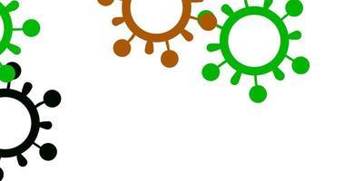 Fondo de vector verde claro, rojo con símbolos de virus.