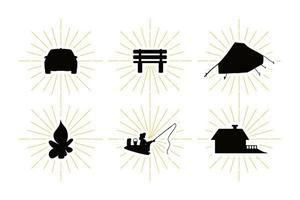 Country rest symbols set with leisure silhouettes vector