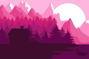 Forest house near the mountains vector