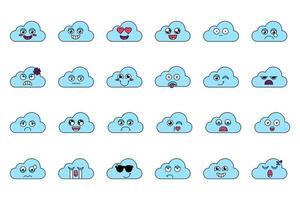 Cute cloud stickers outline illustrations set vector