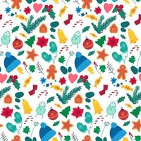New year holiday items color seamless pattern vector
