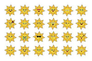 Cute sun stickers outline illustrations set vector