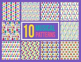 Cartoon bright musical instruments seamless pattern set vector