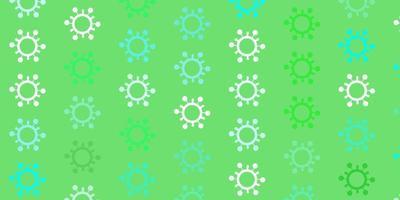 Fondo de vector verde claro con símbolos covid-19.