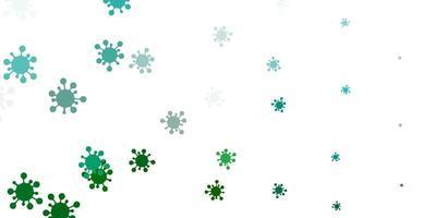 Telón de fondo de vector verde claro con símbolos de virus.