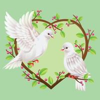 dos palomas en las ramas de los árboles en forma de corazón vector