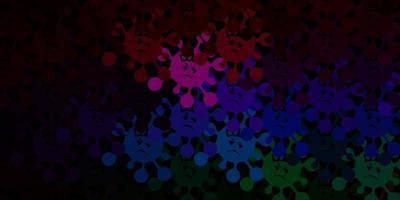 Patrón de vector multicolor oscuro con elementos de coronavirus.