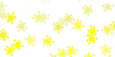 Fondo de vector amarillo claro con símbolos covid-19.