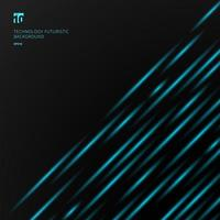 Abstract technology futuristic concept blue laser light pattern diagonal stripes on black background vector