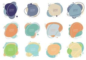 Set of abstract creative fluid shapes with circles elements minimal trendy style on white background vector
