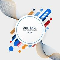 Abstract blue, orange and red color geometric composition made of various rounded shapes diagonal lines and wavy line elements with white circle space for your text vector
