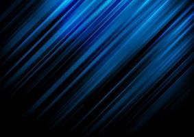 Abstract blue stripe diagonal lines light on black background with space for your text vector