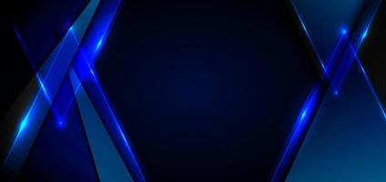 Abstract blue triangles with lighting laser on black background vector