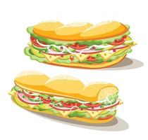 Breakfast sandwich set of food on white background, vector illustration