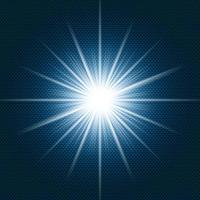 Destello brillante de luz de las estrellas con rayos sobre fondo degradado azul oscuro y textura de patrón de chevron. vector