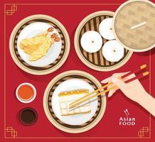 Conjunto de menú de dim sum ilustración de vector de comida asiática