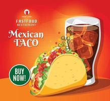 comida de taco tradicional, cocina mexicana, comida rápida, deliciosos tacos y cola, ilustración vectorial vector