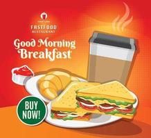 vector de publicación de redes sociales de restaurante de banner de comida rápida